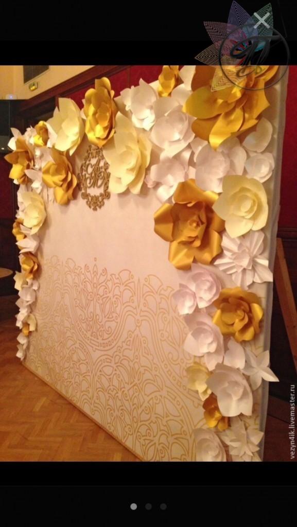 Стена длясессии из бумажных цветов